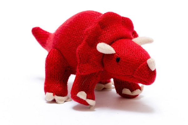 Knitted Dinosaur Rattle | Red Triceratops